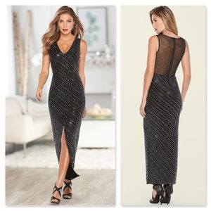 Venus Deep V Sequin Formal Dress NWT Black